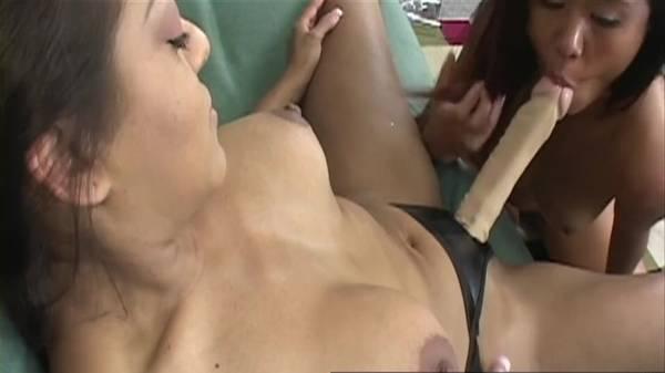Lésbicas asiáticas gostosas chorando com o cintaralho de borracha